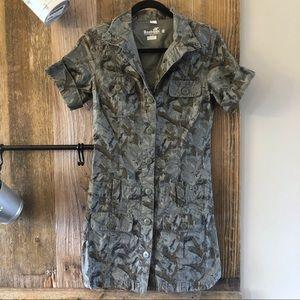 Boxfresh   Barn Owl Camo Button Down Shirt Dress